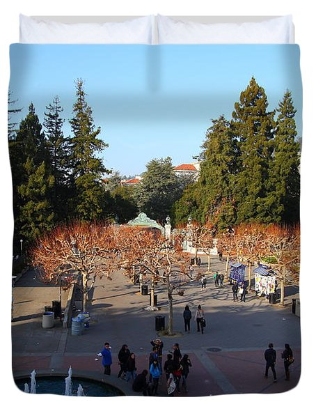 Uc Berkeley . Sproul Hall . Sproul Plaza . Sather Gate And Sather Tower Campanile . 7d10003 Duvet Cover by Wingsdomain Art and Photography
