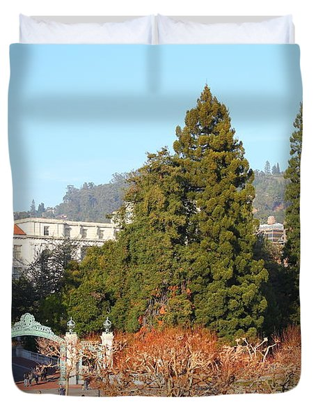 Uc Berkeley . Sproul Plaza . Sather Gate And Sather Tower Campanile . 7d10015 Duvet Cover by Wingsdomain Art and Photography