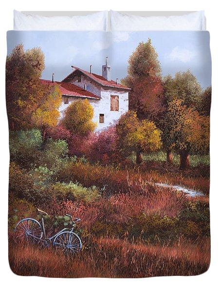 una bicicletta nel bosco Duvet Cover by Guido Borelli