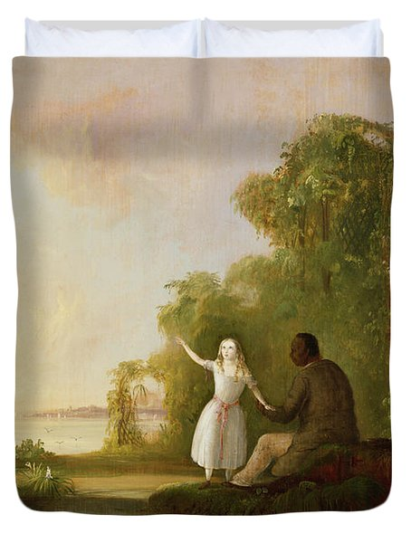 Uncle Tom And Little Eva Duvet Cover by Robert Scott Duncanson