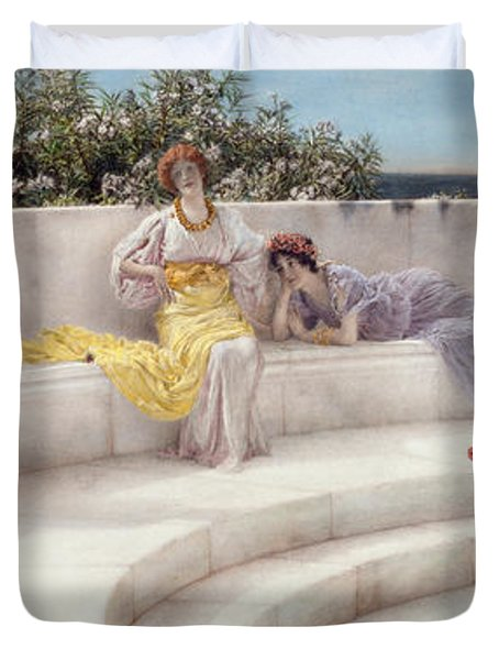 Under The Roof Of Blue Ionian Weather Duvet Cover by Sir Lawrence Alma-Tadema