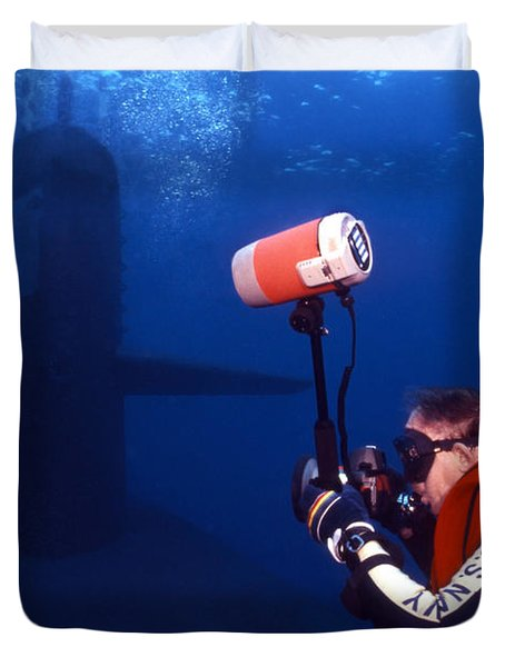 Underwater Photographer Takes Photos Duvet Cover by Michael Wood