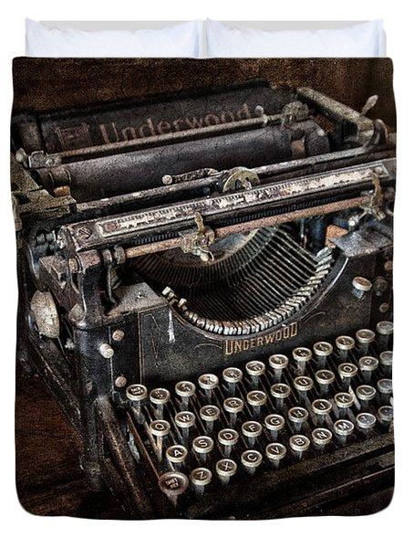 Underwood Typewriter Duvet Cover by Susan Candelario