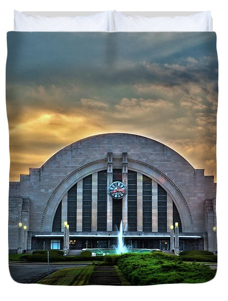 Union Terminal At Sunset Duvet Cover by Keith Allen