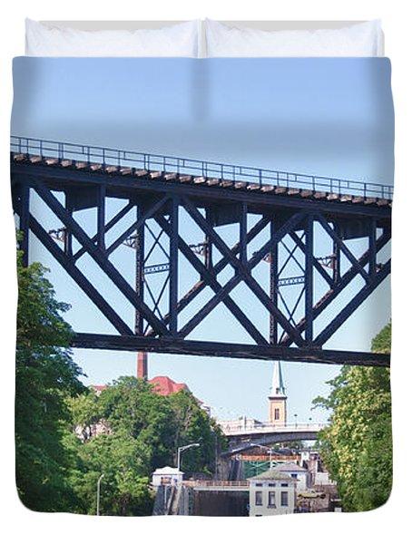 Upside-down Railroad Bridge Duvet Cover by Guy Whiteley
