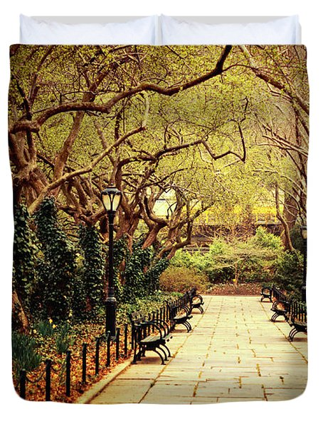 Urban Forest Primeval - Central Park Conservatory Garden in the Spring Duvet Cover by Vivienne Gucwa