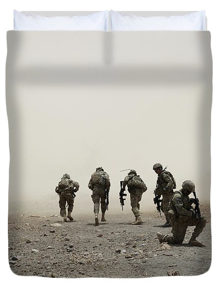 U.s. Army Captain Provides Security Duvet Cover by Stocktrek Images