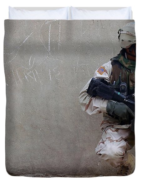 U.s. Army Soldier Armed With A 5.56mm Duvet Cover by Stocktrek Images