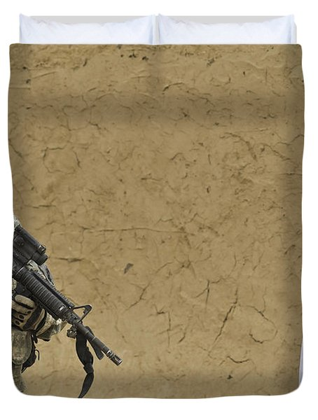 U.s. Army Specialist Talks To An Afghan Duvet Cover by Stocktrek Images