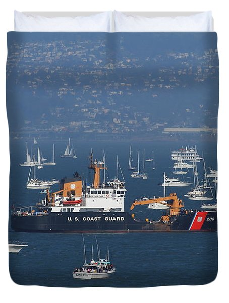 Us Coast Guard Ship Surrounded By Boats In The San Francisco Bay. 7d7895 Duvet Cover by Wingsdomain Art and Photography