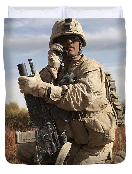 U.s. Marine Communicates Duvet Cover by Stocktrek Images