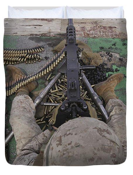 U.s. Marine Fires An M2 .50-caliber Duvet Cover by Stocktrek Images