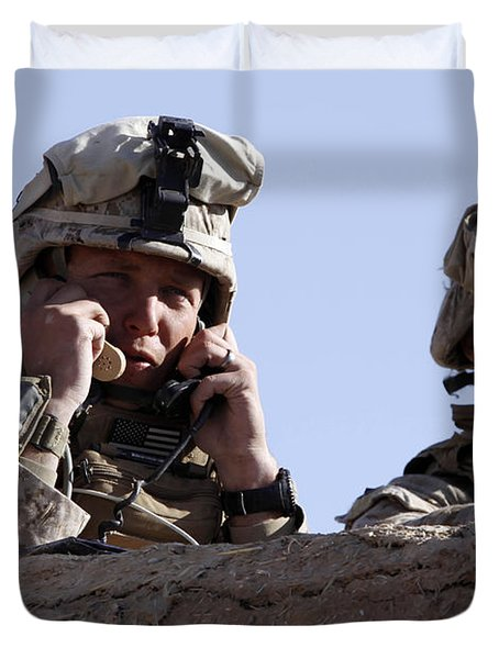 U.s. Marine Gives Directions To Units Duvet Cover by Stocktrek Images
