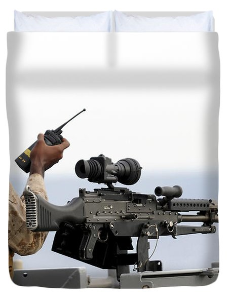 U.s. Marine Talks On A Radio While Duvet Cover by Stocktrek Images