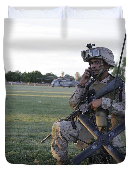 U.s. Marine Utilizes A Satellite Radio Duvet Cover by Stocktrek Images