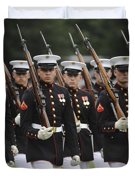 U.s. Marines March By During The Pass Duvet Cover by Stocktrek Images