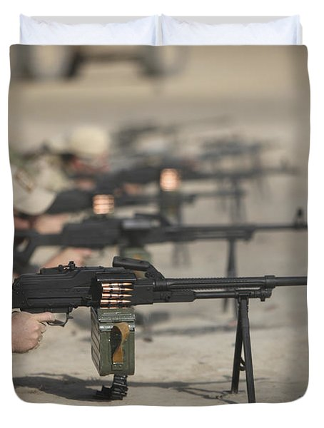 U.s. Soldiers Firing Pk 7.62 Mm Duvet Cover by Terry Moore