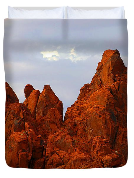 Valley Of Fire - The Landscape Burns Duvet Cover by Christine Till