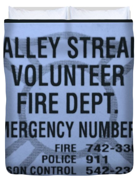 Valley Stream Fire Department In Cyan Duvet Cover by Rob Hans