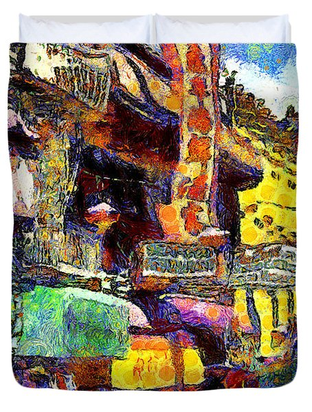 Van Gogh Meets Up With The Screamer in San Francisco Chinatown . 7D7174 Duvet Cover by Wingsdomain Art and Photography