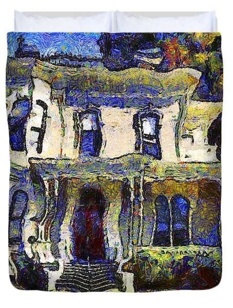 Van Gogh Visits The Old Victorian Camron-Stanford House in Oakland California . 7D13440 Duvet Cover by Wingsdomain Art and Photography