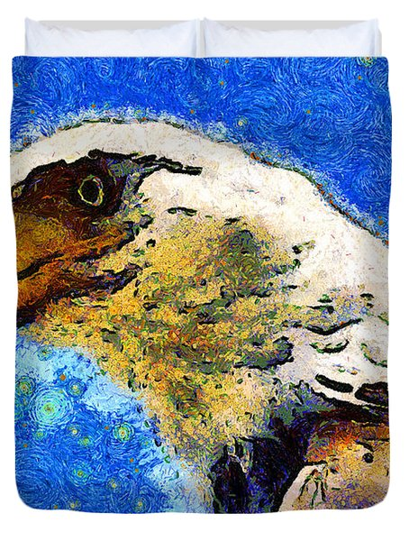 Van Gogh.s American Eagle Under A Starry Night . 40D6715 Duvet Cover by Wingsdomain Art and Photography