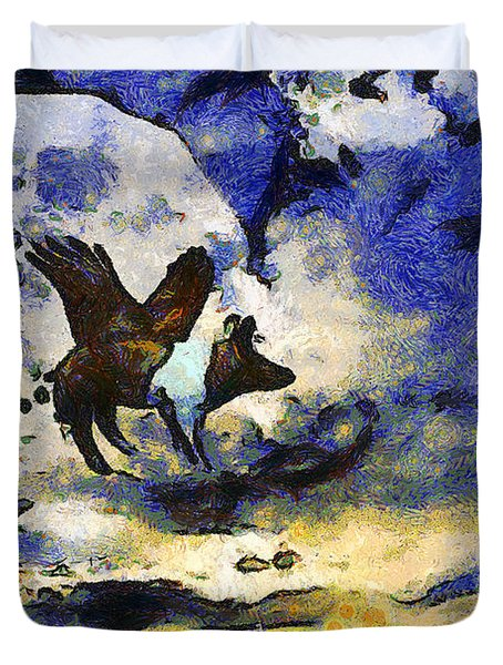 Van Gogh.s Flying Pig 2 Duvet Cover by Wingsdomain Art and Photography