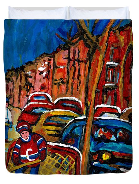 Verdun Rowhouses With Hockey - Paintings Of Verdun Montreal Street Scenes In Winter Duvet Cover by Carole Spandau