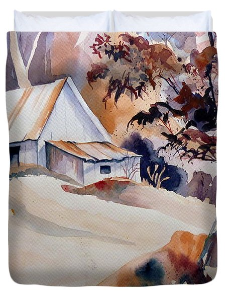 Vermont Sugar Shack Cabin In Winter Duvet Cover by Carole Spandau