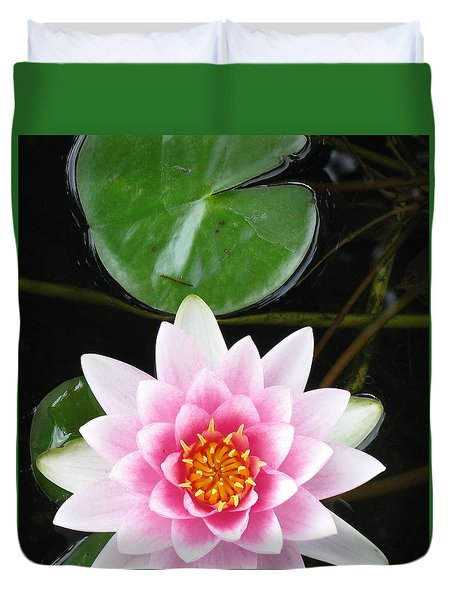 Vertical Water Lily Duvet Cover by Debbie Finley