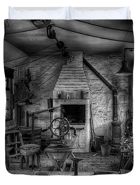 Victorian Locksmith's Workshop Duvet Cover by Adrian Evans