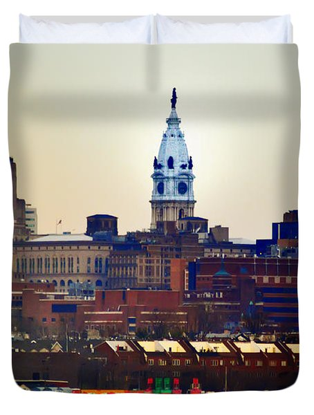 View Of Philadelphia City Hall From Camden Duvet Cover by Bill Cannon
