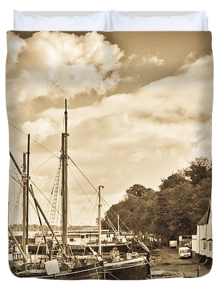 View Of Pin Mill From King's Yard Sepia Duvet Cover by Gary Eason