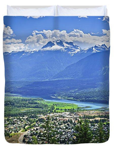 View of Revelstoke in British Columbia Duvet Cover by Elena Elisseeva
