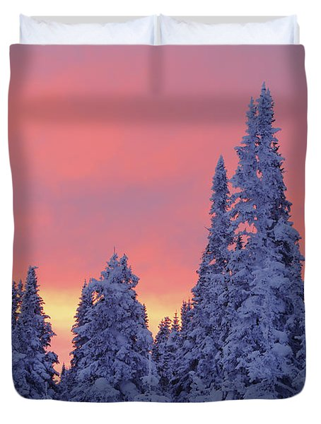 View Of Snow-covered Trees And Sky Duvet Cover by Yves Marcoux