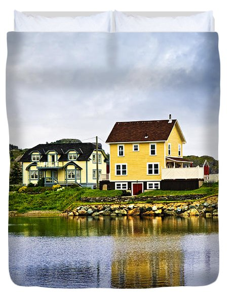 Village In Newfoundland Duvet Cover by Elena Elisseeva
