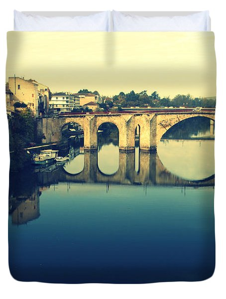 Villeneuve sur Lot's River Duvet Cover by Nomad Art And  Design