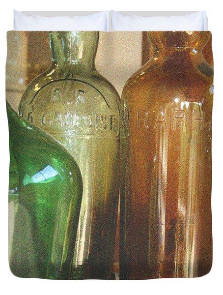 Vintage bottles Duvet Cover by Nomad Art And  Design
