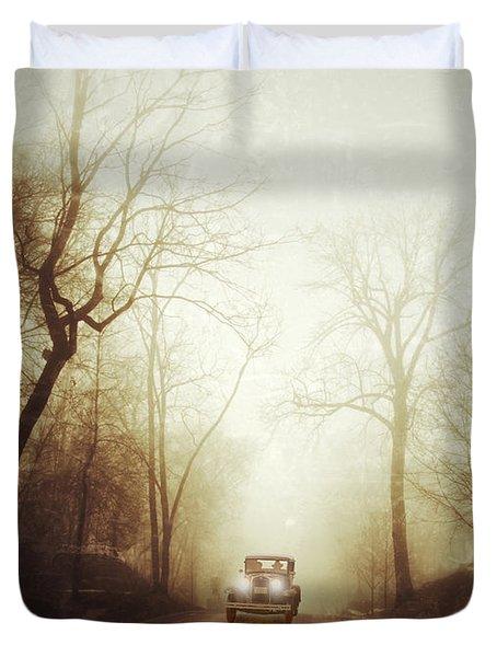 Vintage Car On Foggy Rural Road Duvet Cover by Jill Battaglia