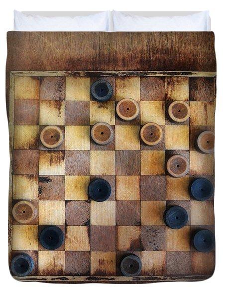 Vintage Checkers Game Duvet Cover by Jill Battaglia