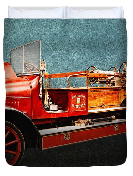 Vintage Fire Truck Duvet Cover by Jutta Maria Pusl