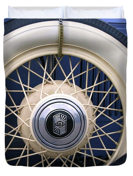 Vintage Nash Tire Duvet Cover by Kay Novy