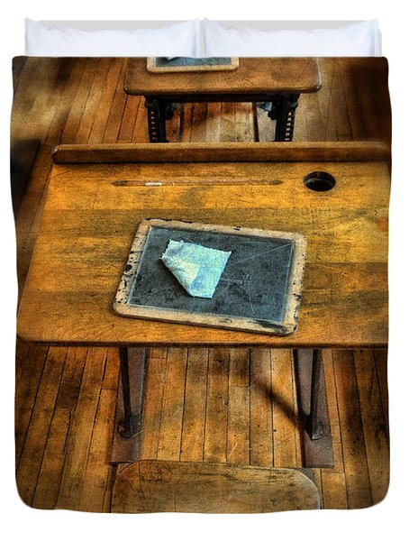 Vintage School Desks Duvet Cover by Jill Battaglia