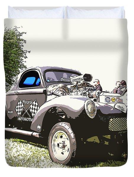 Vintage Willys Gasser Duvet Cover by Steve McKinzie