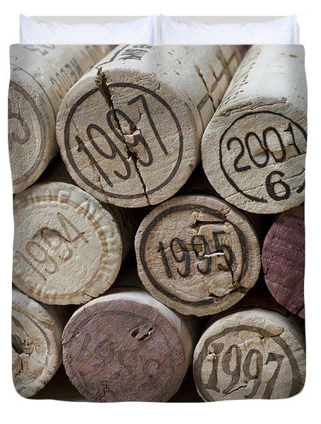 Vintage Wine Corks Duvet Cover by Frank Tschakert