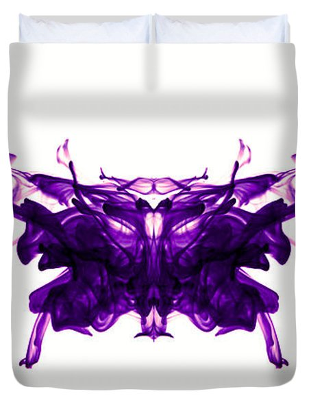 Violet Abstract Butterfly Duvet Cover by Sumit Mehndiratta