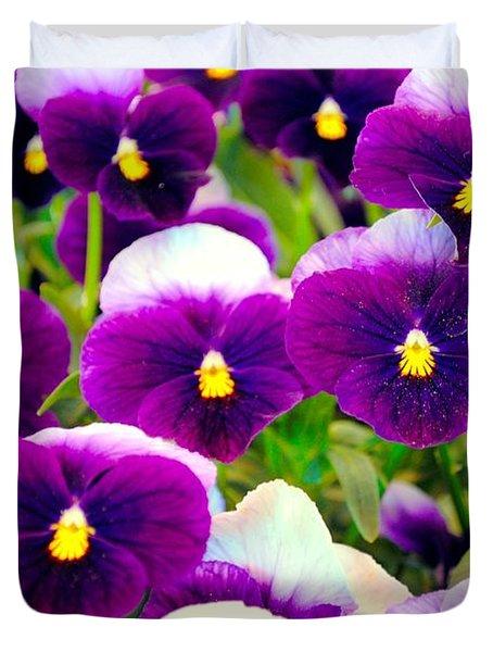 Violet Pansies Duvet Cover by Sumit Mehndiratta
