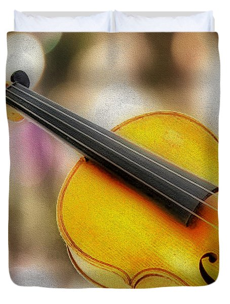 Violin Duvet Cover by Cheryl Young