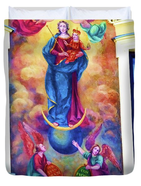 Virgin Mary Mural Duvet Cover by Mariola Bitner