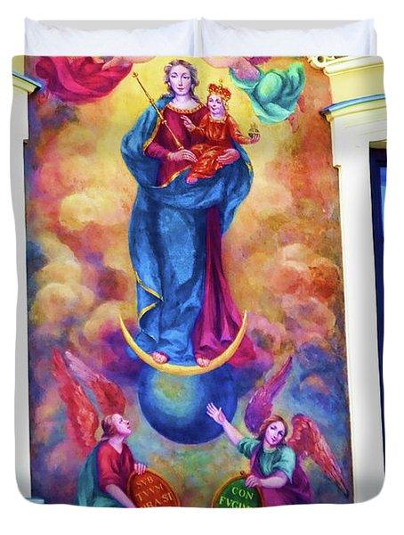Virgin Mary Mural Duvet Cover by Mariola Bitner